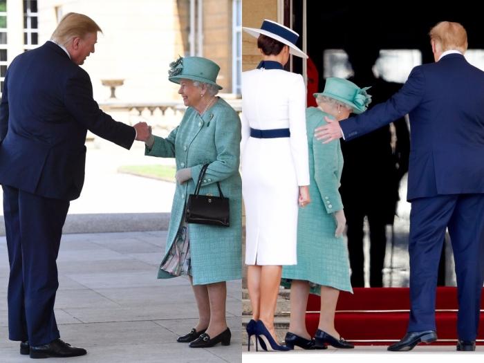 Дональд Трамп слегка обнял Елизавету II, чем нарушил королевский протокол